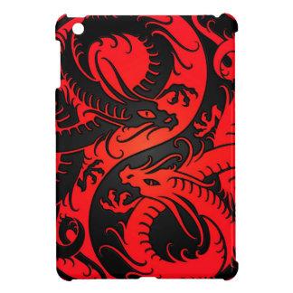 Dragones rojos y negros del chino de Yin Yang iPad Mini Cárcasa