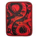 Dragones rojos y negros del chino de Yin Yang Mangas De iPad