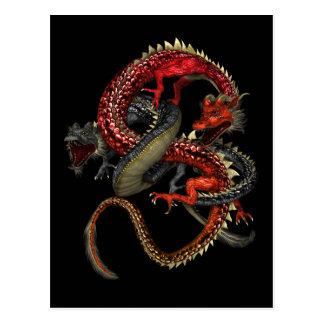 Dragones rojos y negros tarjeta postal