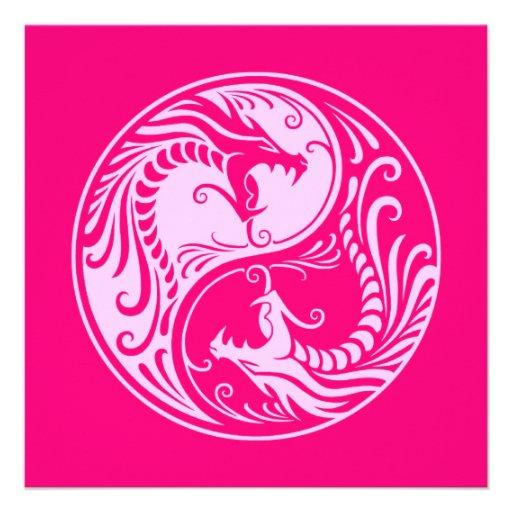 Dragones rosados de Yin Yang Anuncio Personalizado