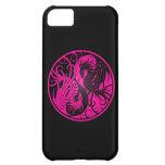 Dragones rosados y negros de Yin que vuelan Yang