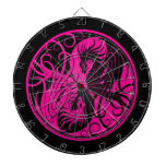 Dragones rosados y negros de Yin que vuelan Yang Tablero De Dardos