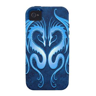 Dragones tribales azules iPhone 4/4S carcasa