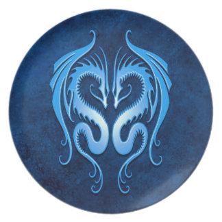 Dragones tribales azules plato para fiesta