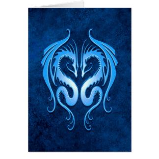 Dragones tribales, azules tarjeta de felicitación