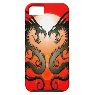 Dragones tribales gemelos iPhone 5 carcasas