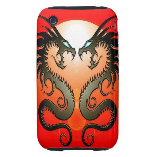 Dragones tribales gemelos tough iPhone 3 carcasas