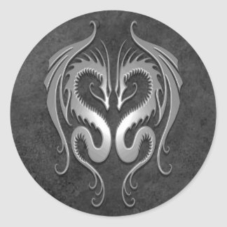 Dragones tribales, oscuros etiquetas redondas