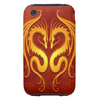 Dragones tribales, rojo y amarillo iPhone 3 tough coberturas