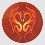 Dragones tribales, rojos pegatinas redondas