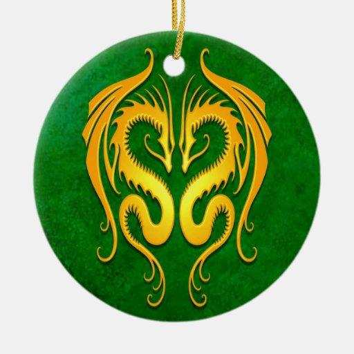 Dragones tribales, verde y amarillo ornamento de reyes magos