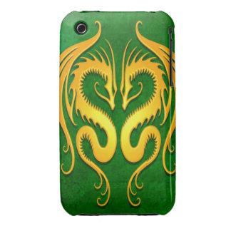 Dragones tribales, verde y amarillo iPhone 3 Case-Mate cárcasa