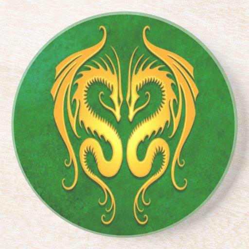Dragones tribales, verde y amarillo posavasos para bebidas