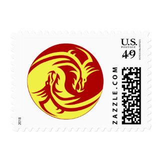 Dragones tribales Yin Yang (personalícelo!) Estampilla
