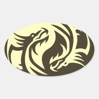 Dragones tribales Yin Yang (personalícelo!) Calcomania De Óval Personalizadas