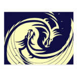 Dragones tribales Yin Yang (personalizable) Tarjetas Postales