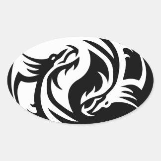 Dragones tribales Yin Yang (personalizar él!) Colcomanias De Óval