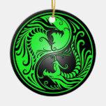 Dragones, verde y negro de Yin Yang Ornamentos De Reyes Magos