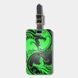 Dragones, verde y negro de Yin Yang Etiquetas De Maletas