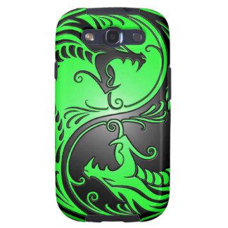 Dragones, verde y negro de Yin Yang Samsung Galaxy S3 Cárcasas