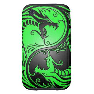 Dragones, verde y negro de Yin Yang Tough iPhone 3 Cárcasas