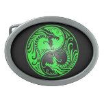 Dragones, verde y negro de Yin Yang Hebilla Cinturón Oval