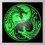 Dragones, verde y negro de Yin Yang Impresiones