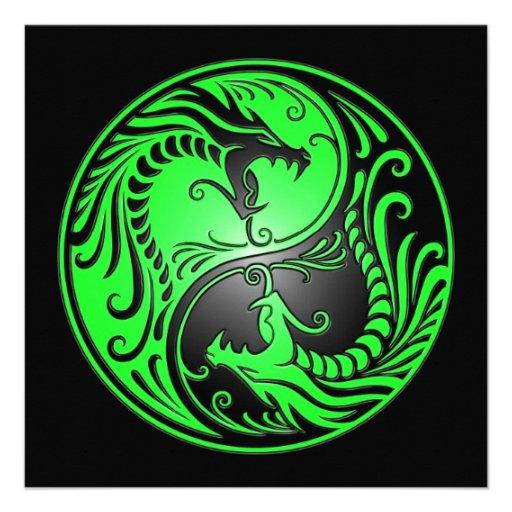 Dragones, verde y negro de Yin Yang Invitacion Personal