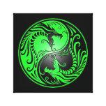 Dragones, verde y negro de Yin Yang Impresión En Lienzo Estirada