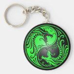 Dragones, verde y negro de Yin Yang Llaveros Personalizados