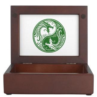 Dragones verdes adaptables de Yin Yang Caja De Recuerdos
