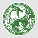 Dragones verdes adaptables de Yin Yang Pegatina Redonda