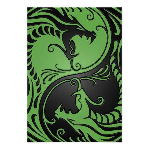 Dragones verdes y negros de Yin Yang Comunicado