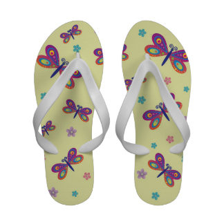 Dragonflies and Daisies Yellow Flip Flops