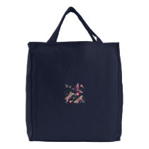 Dragonflies and flowers embroidered tote bag