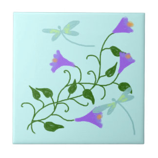 Dragonflies and Morning Glories Ceramic Tile
