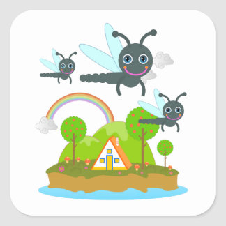 Dragonflies and orange trees square sticker