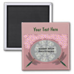 Dragonflies And Pink Daisy Flowers Photo 2 Inch Square Magnet