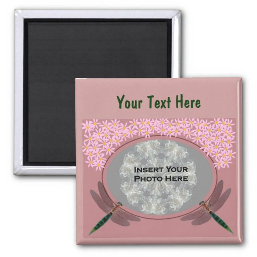 Dragonflies And Pink Daisy Flowers Photo Refrigerator Magnet