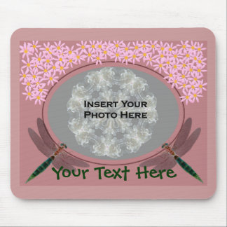 Dragonflies And Pink Daisy Flowers Photo Mouse Pad