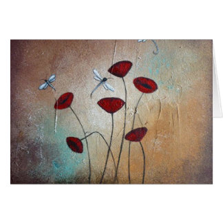 Dragonflies and Poppies Card