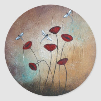 Dragonflies and Poppies Classic Round Sticker