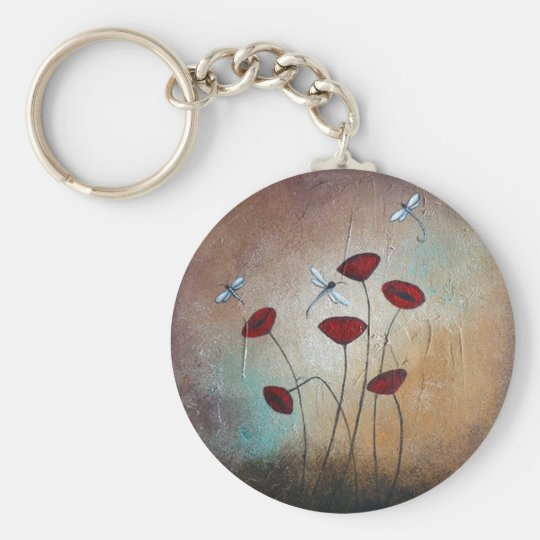 Dragonflies and Poppies Keychain