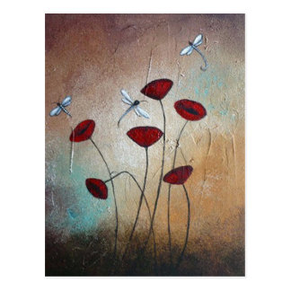 Dragonflies and Poppies Postcards