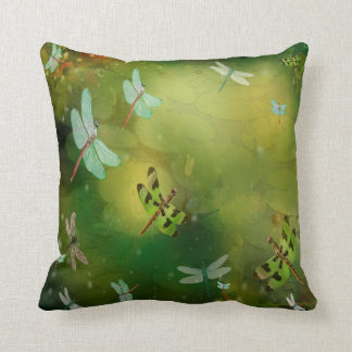 Dragonflies and Water Lilies Pillow Cushion