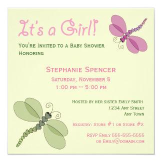 "Dragonflies Baby Shower Invitation 5.25"" Square Invitation Card"