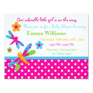 Dragonflies Baby Shower Invitation