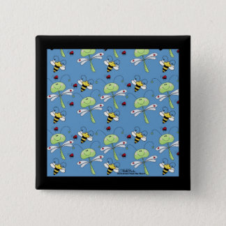 Dragonflies, Bees and Ladybugs Collage Button