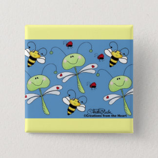 Dragonflies, Bees and Ladybugs Collage Pinback Button