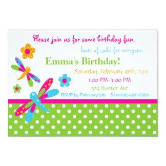 "Dragonflies Birthday Invitation 4 5"" X 7"" Invitation Card"